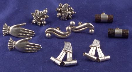 Five Pairs of Mexican Silver Earclips
