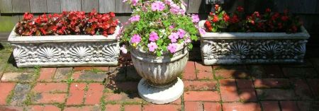Five Decorative Cast Stone Garden Items