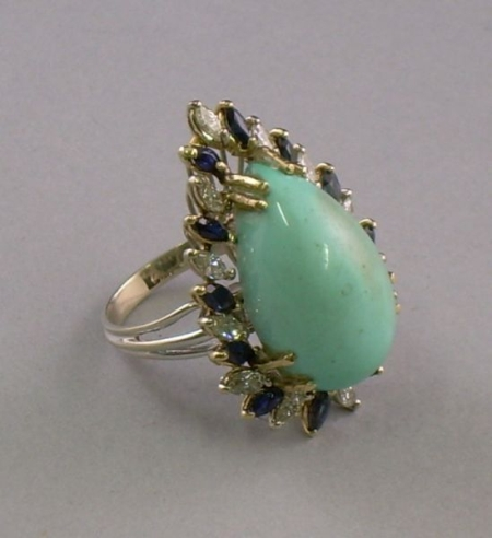 Turquoise, Diamond, and Sapphire Ring