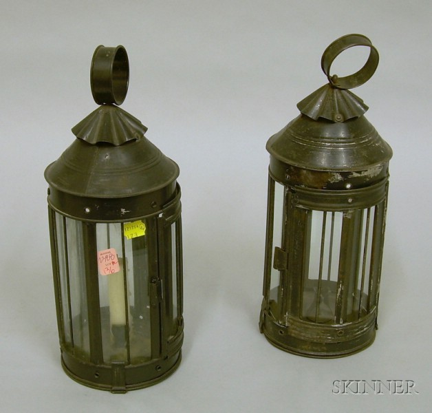 Pair of Black Painted Tin and Glass Candle Lanterns.