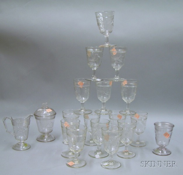 Set of Fifteen Victorian Colorless Pressed Cardinal Pattern Glass Goblets, a Creamer Covered Jar, and a Glass....
