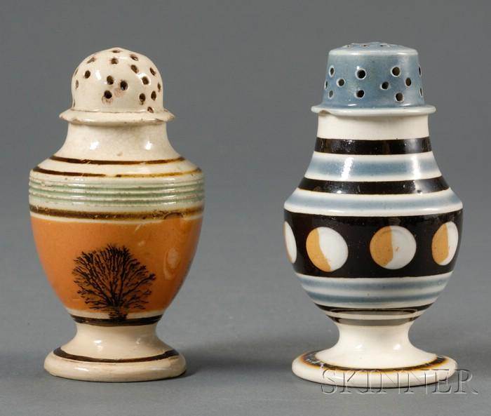 Two Mochaware Pepper Pots