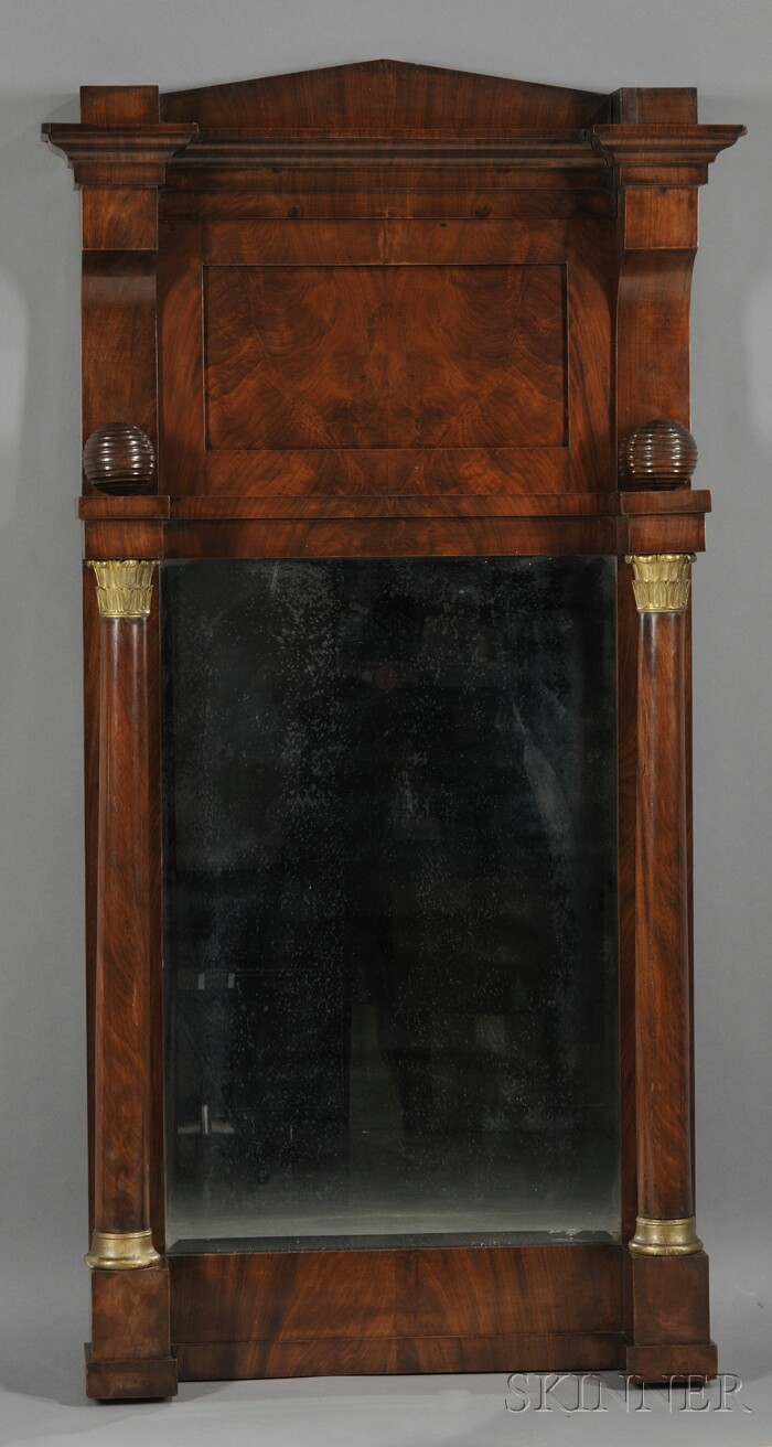 Empire Mahogany Veneer and Parcel-gilt Pier Mirror