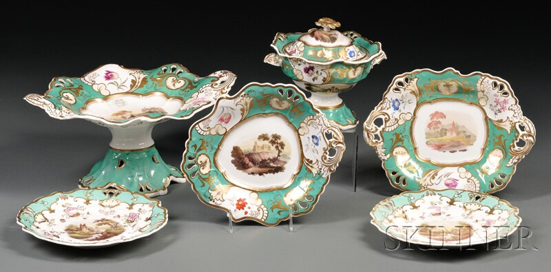 Assembled Fourteen-piece Rockingham Porcelain Partial Dinner Service
