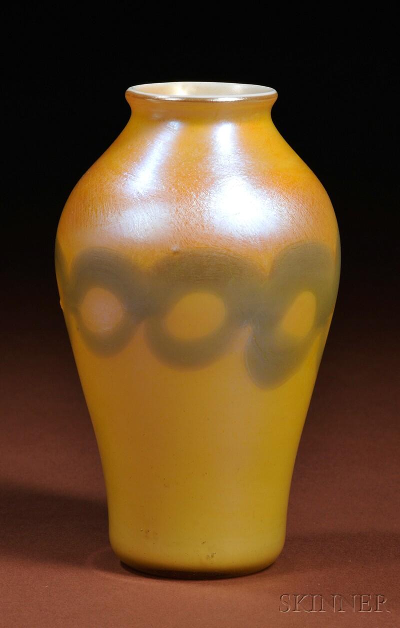 Tiffany Favrile Chain Decorated Vase