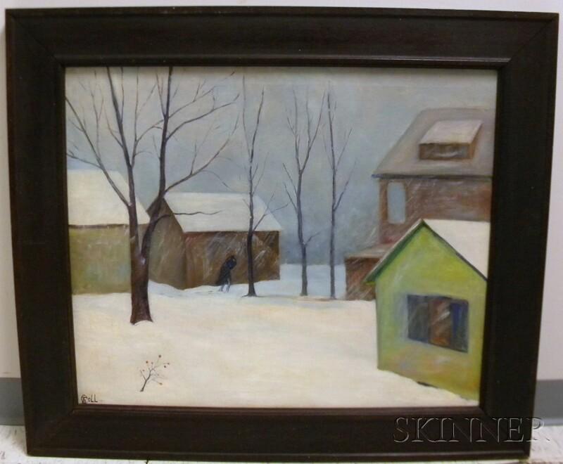 20th Century American School Oil on Canvas of a Winter Scene