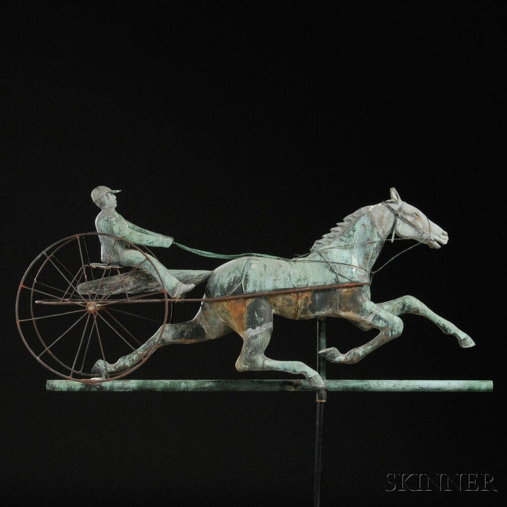 Molded Copper and Cast Zinc Horse and Sulky Weathervane