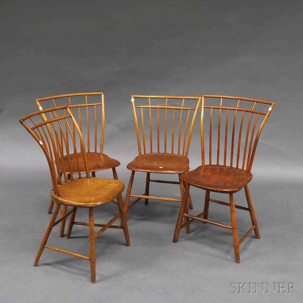 Bamboo Turned Chair: Set Of Four Bamboo-turned Birdcage Windsor Side Chairs