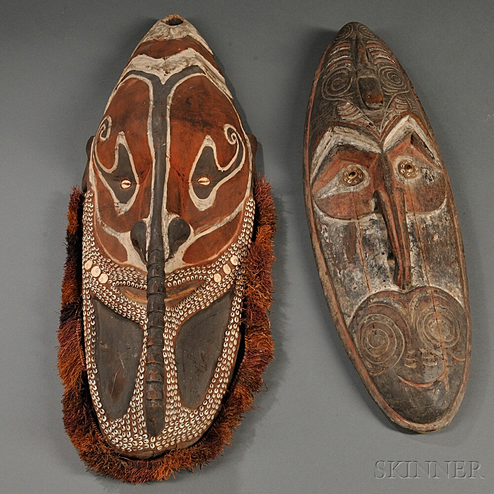 Two New Guinea Polychrome Carved Wood Masks