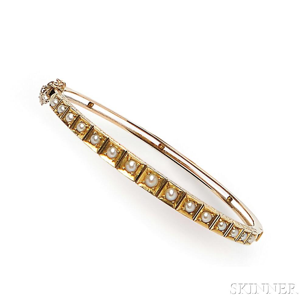 Antique 14kt Gold and Split Pearl Bracelet
