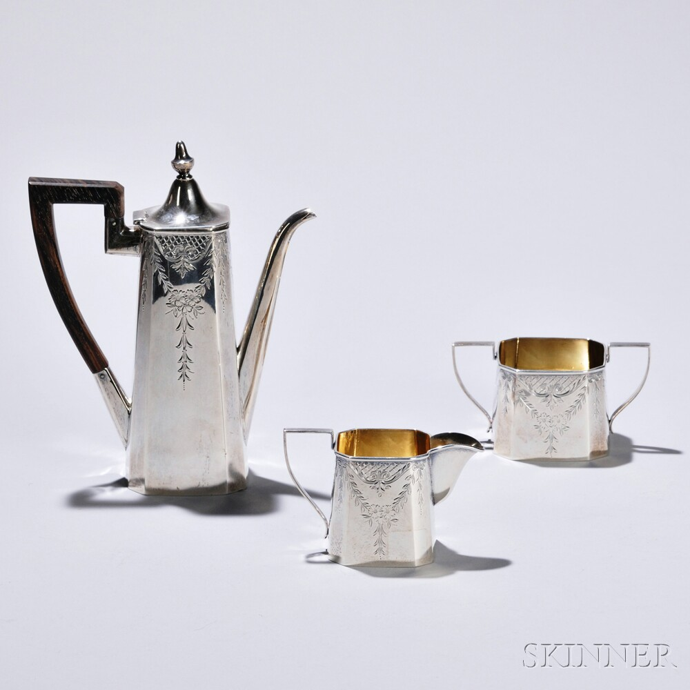 Three-piece Liebs Silver Co. Sterling Silver Coffee Service