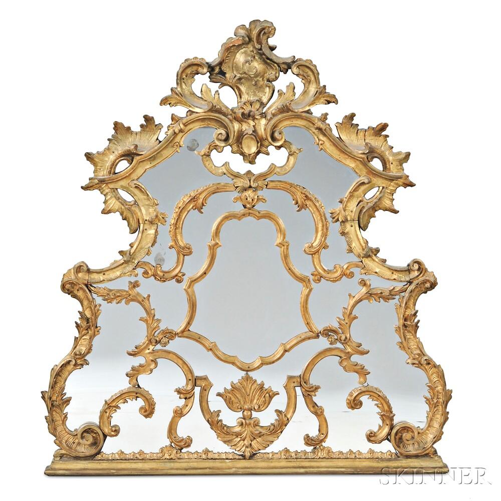 Louis XV-style Giltwood Overmantel Mirror