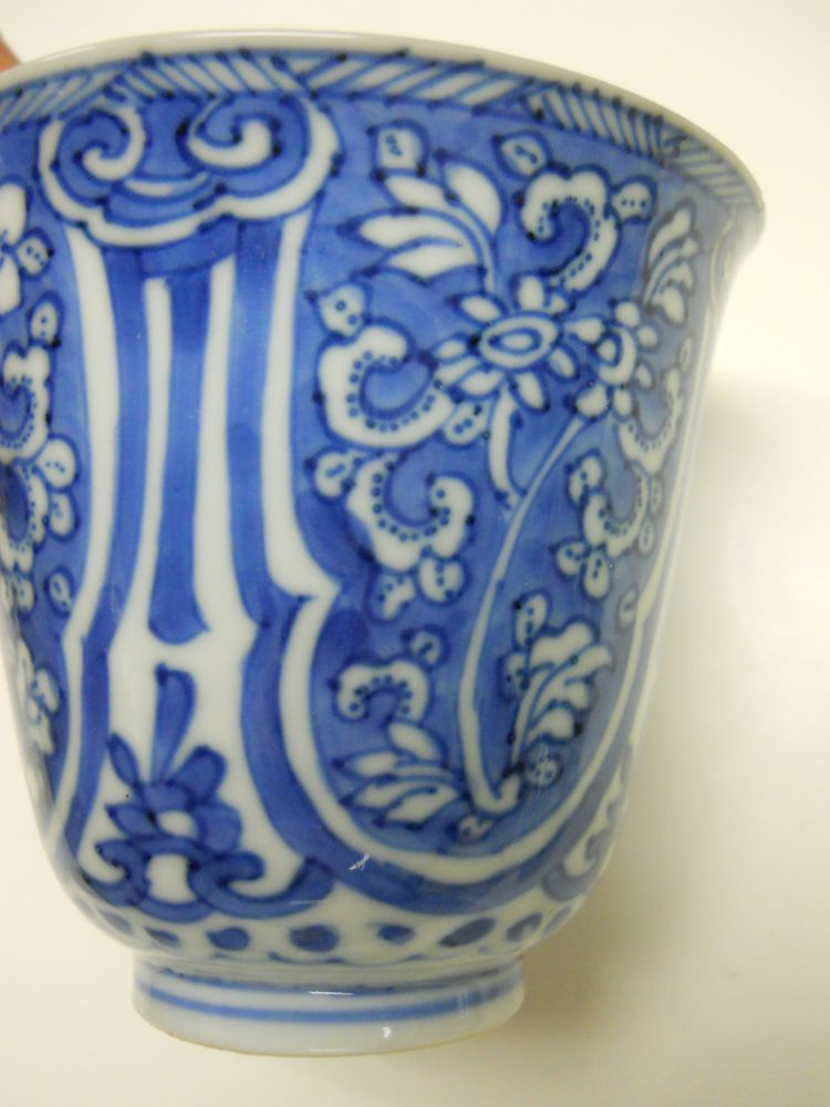 Blue and White Cup and Dish