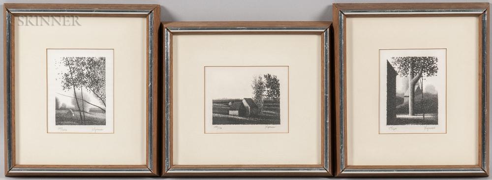 Robert Kipniss (American, b. 1931)      Three Framed Landscape Lithographs