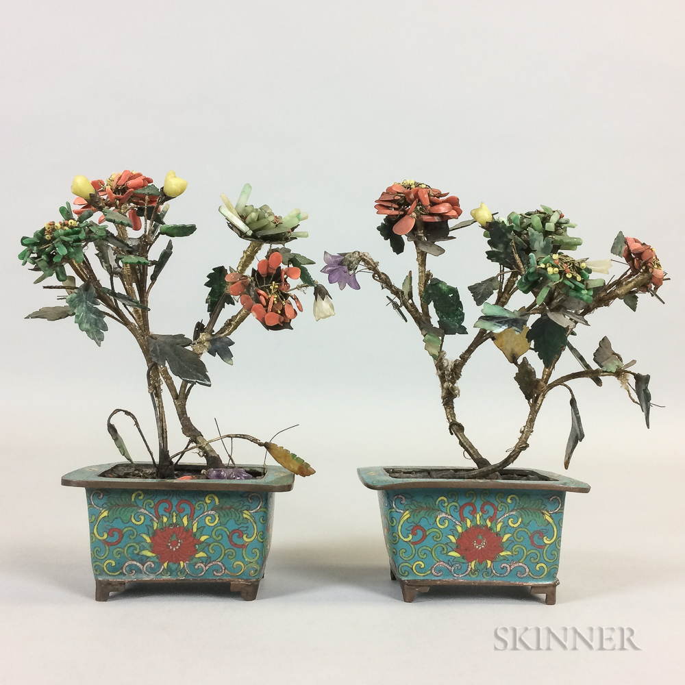 Pair of Hardstone Plants in Cloisonne Pots