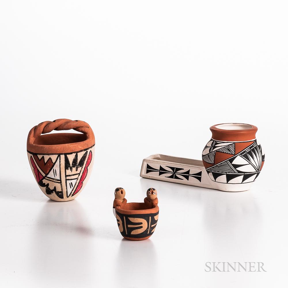 Three Contemporary Pueblo Pottery Vessels