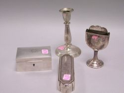 Pair of Tiffany Sterling Silver Candlesticks, Two Boxes and a Holder.