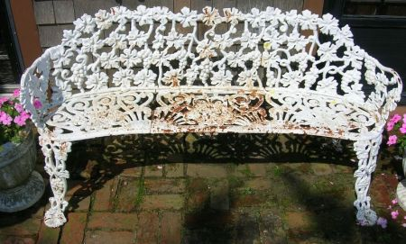 White Painted Cast Iron Grapevine Pattern Garden Bench