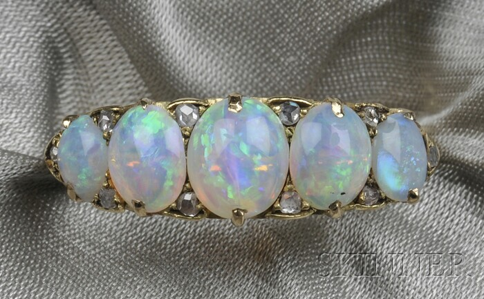 18kt Gold, Opal, and Diamond Ring
