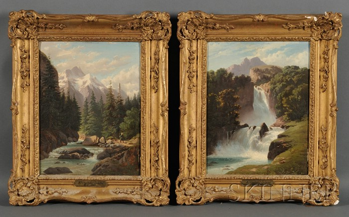 Attributed to Alexandre Calame (Swiss, 1810-1864)      Lot of Two Mountain Landscapes with Rivers