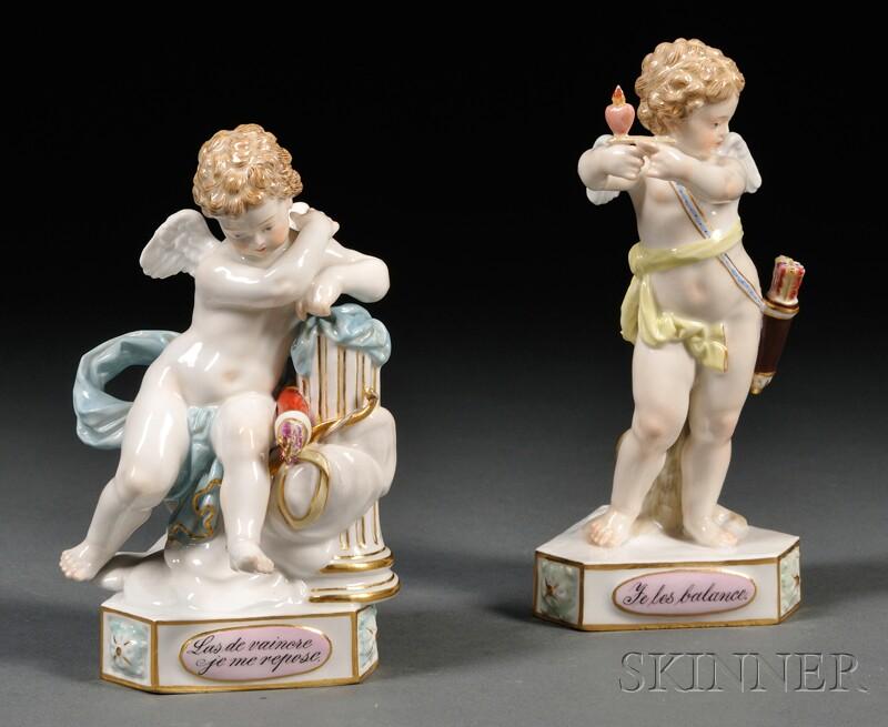 Two Meissen Porcelain Motto Figures