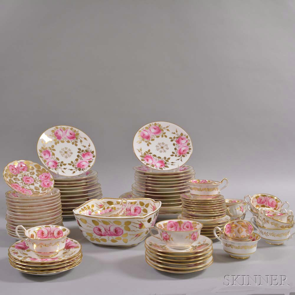 Partial Continental Floral-decorated Porcelain Dinner Service