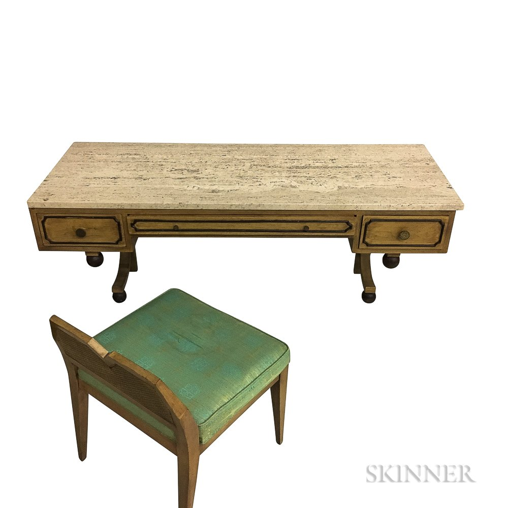 Stone Top Wall-mount Desk and Chair