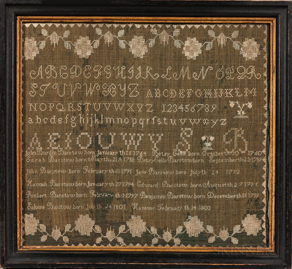 Barstow Family Needlework Sampler and Family Record