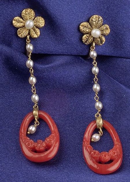 14kt Gold, Carved Coral, and Seed Pearl Earpendants14kt Gold, Carved Coral...