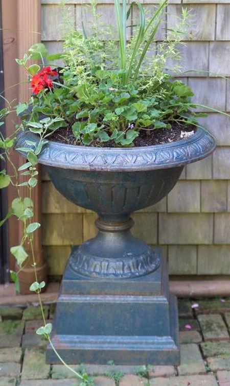 Blue Painted Cast Iron Garden Urn with Pedestal Base