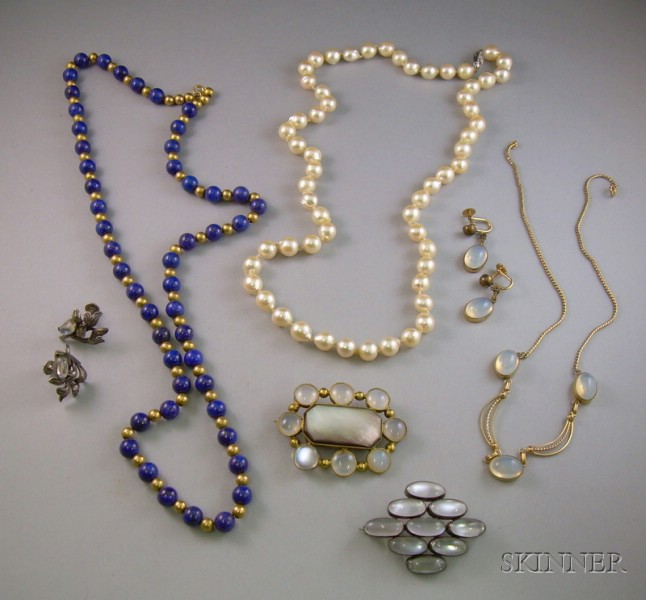 Lapis Bead Necklace, a Pearl Necklace and a Group of Moonstone and Opalescent Glass Jewelry.
