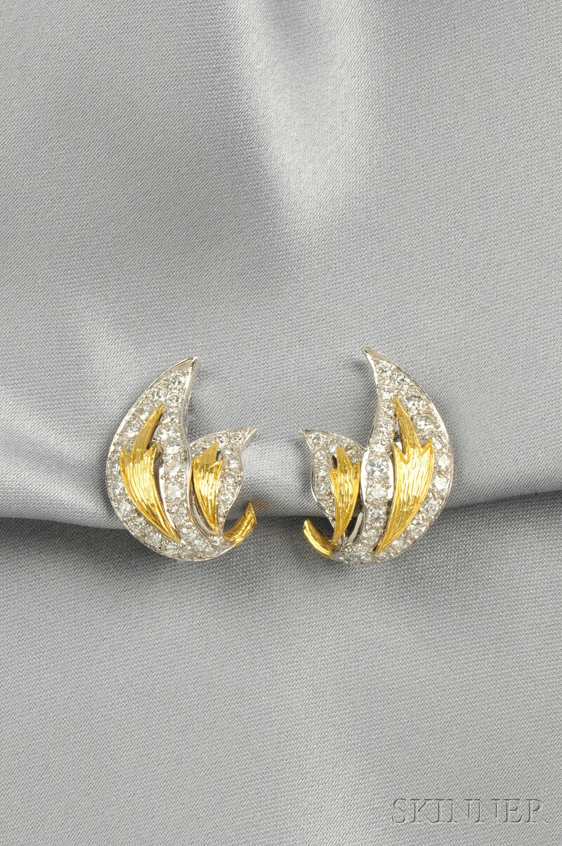 Platinum, 18kt Gold, and Diamond Earclips