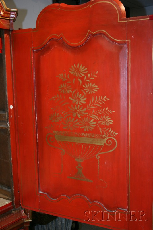 Dutch baroque style red japanned cabinet on chest sale for Dutch baroque architecture