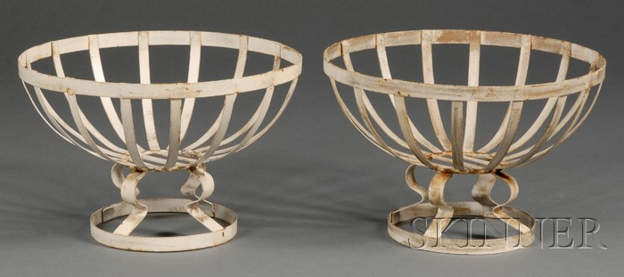 Pair of White-painted Sheet Iron Baskets