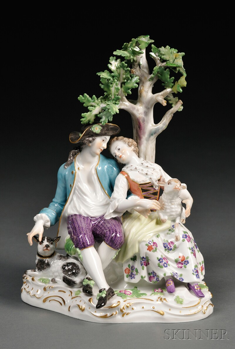 Meissen Porcelain Shepherd and Shepherdess Group