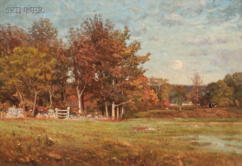 John Joseph Enneking (American, 1841-1916)      Autumn Pasture Under a Full Moon
