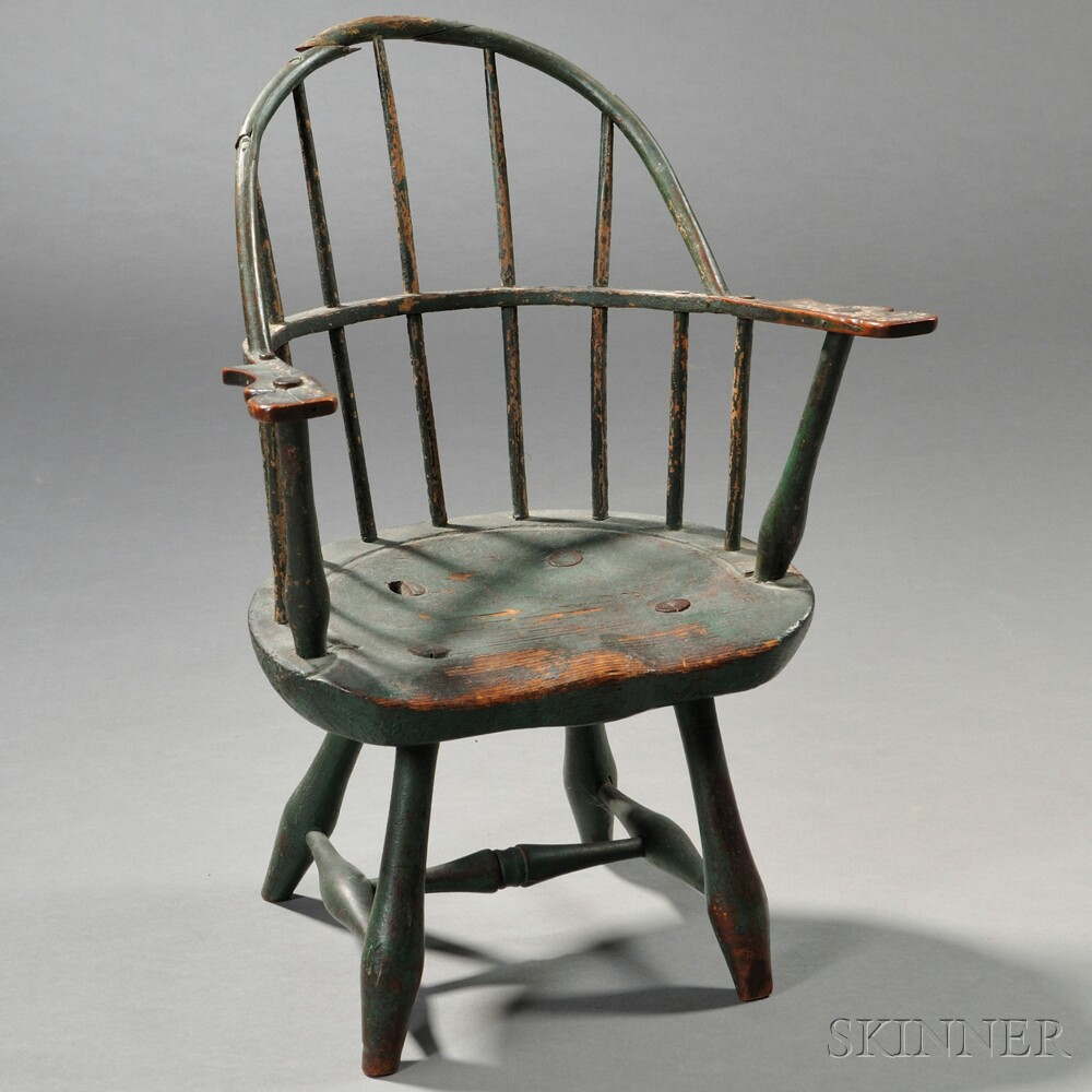 Green-painted Child's Sack-back Windsor Chair