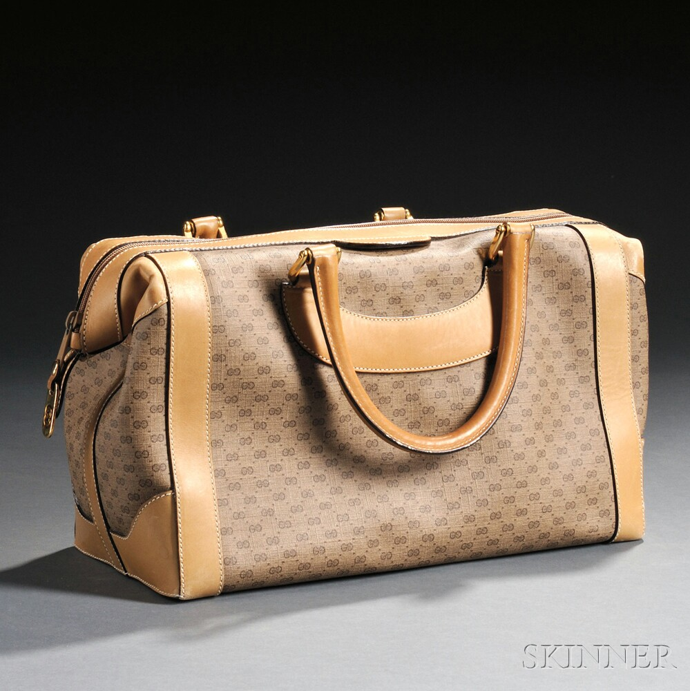 Gucci Coated Canvas and Tan Leather Handbag