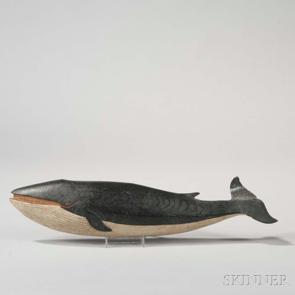 Relief-carved and Painted Wooden Finback Whale Wall Plaque