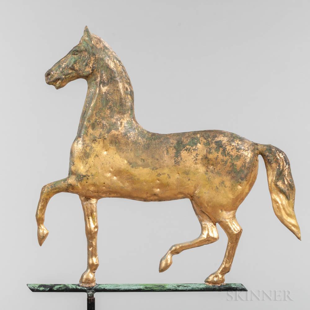 "Molded Sheet Copper Prancing ""Hambletonian"" Horse Weathervane"