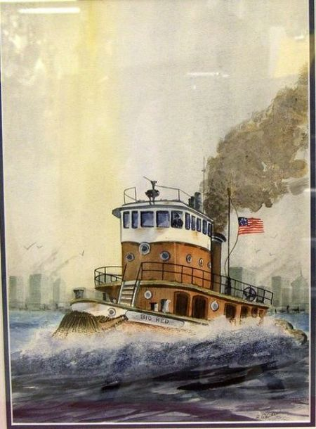Watercolor of the Tugboat Big Red