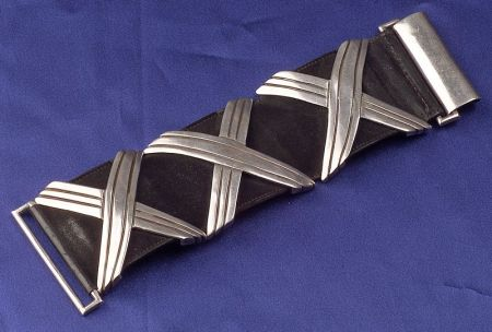 """Silver and Black Suede """"Georgia O'Keefe"""" Bracelet, Hector Aguilar"""