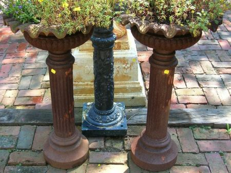 Pair of Cast Iron Ruffled-Rim Garden Planters on Column Bases