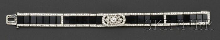 Art Deco Platinum, Onyx, and Diamond Bracelet