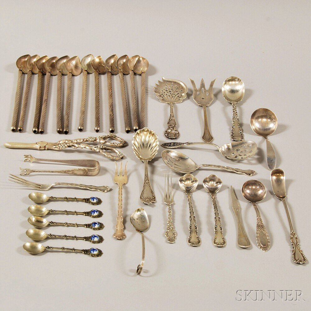 Group of Assorted Small Mostly Sterling Silver Flatware and Serving Items