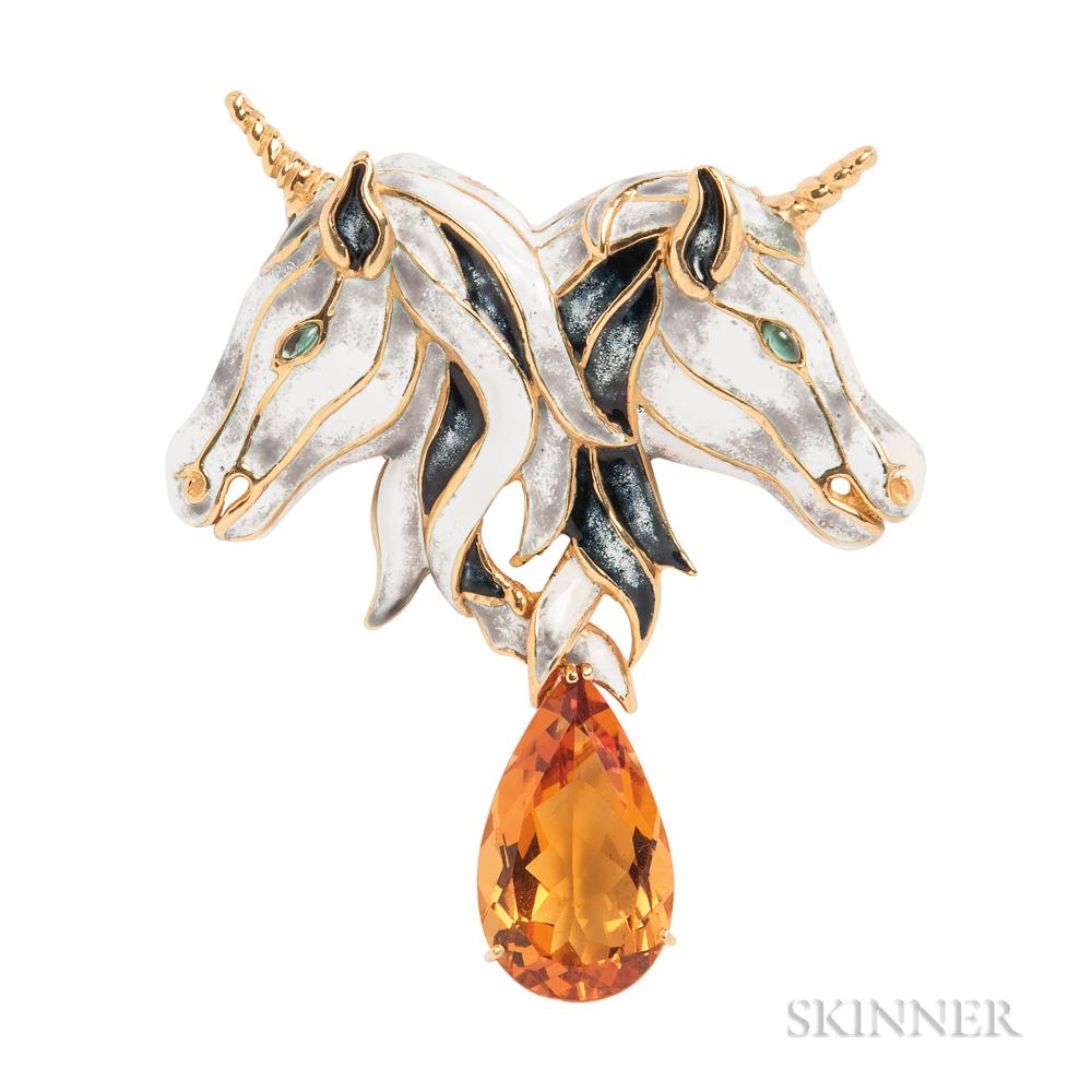 18kt Gold, Enamel, and Gem-set Unicorn Brooch, Aldo Cipullo