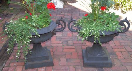 Pair of Gray Painted Cast Iron Two-handled Garden Urns.