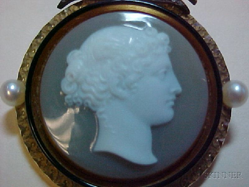 Antique Hardstone Cameo, Seed Pearl, Enamel, and Diamond Suite