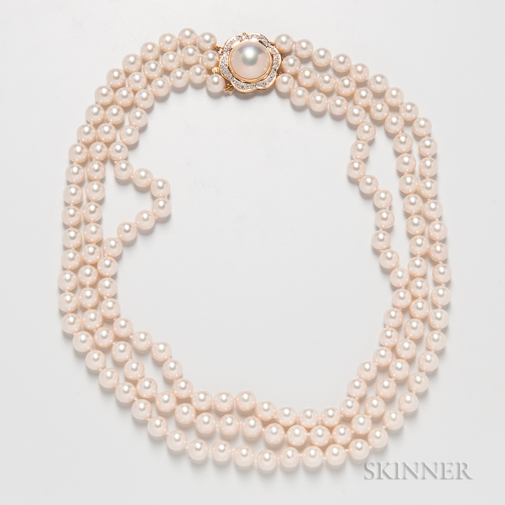 Akoya Triple-strand Cultured Pearl Necklace