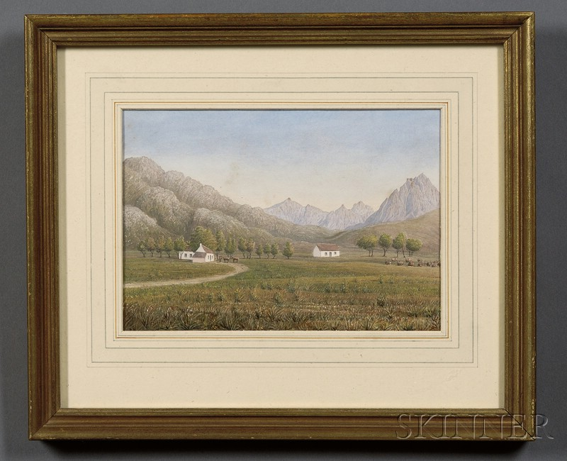 Decorative Watercolor and Gouache Drawing of An Expansive Landscape with Farm